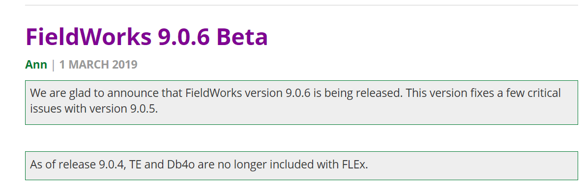 FieldWorks 9.0.6 Beta